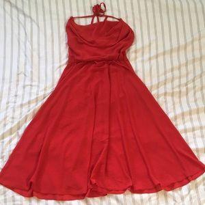 Vintage red backless swing halter dress